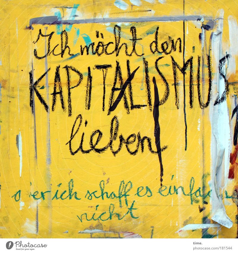 Yellow Graffiti Love Art Letters (alphabet) Printed Matter Poster Disappointment Daub Honest Fate Characters Capitalism Disaster Allegory Remark