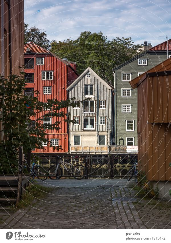 opposite number Port City Old town House (Residential Structure) Building Architecture Historic Beautiful Uniqueness Trondheim Norway Pile-dwelling
