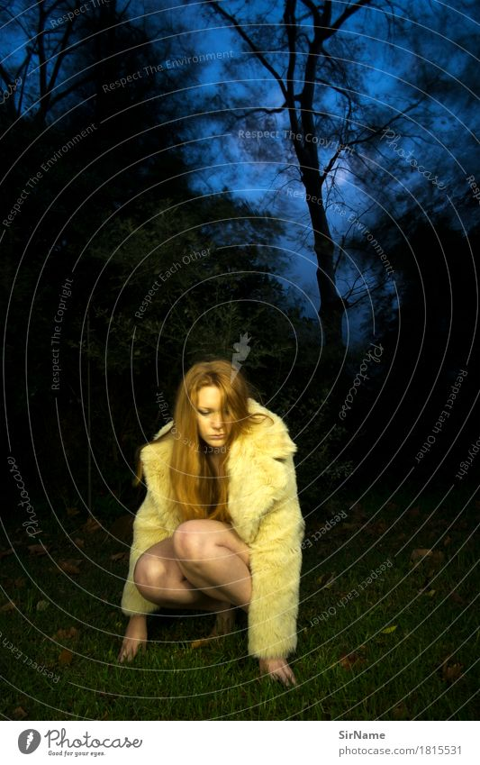 Woman Youth (Young adults) Naked Beautiful Young woman Tree Eroticism Dark Forest 18 - 30 years Adults Grass Art Fashion Moody Park