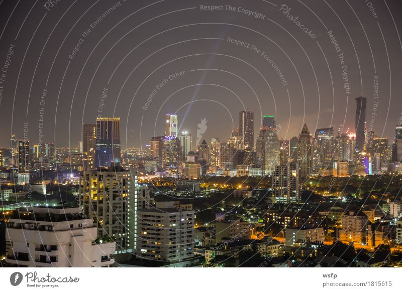 Bangkok skyline at night panorama Office Town Downtown Skyline High-rise Architecture Authentic Lighting Quarter sukhumvit Bench Asia Thailand City of Angels