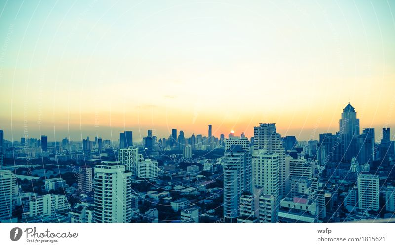 Bangkok skyline at sunset panorama Office Town Downtown Skyline High-rise Architecture Sunset Quarter sukhumvit Bench Asia Thailand City of Angels Filter