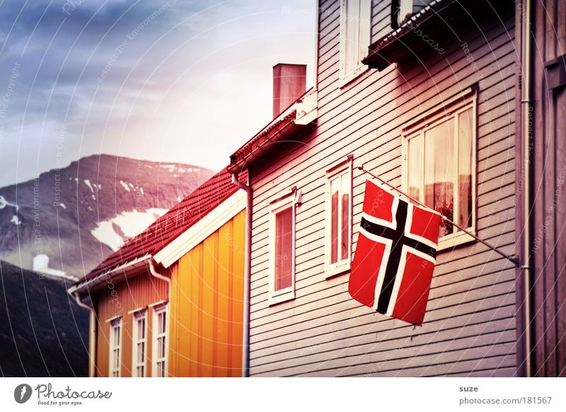 Vacation & Travel City House (Residential Structure) Window Mountain Wood Facade Living or residing Flag Hut Pride Blow Norway Scandinavia Nationalities and ethnicity Wooden house