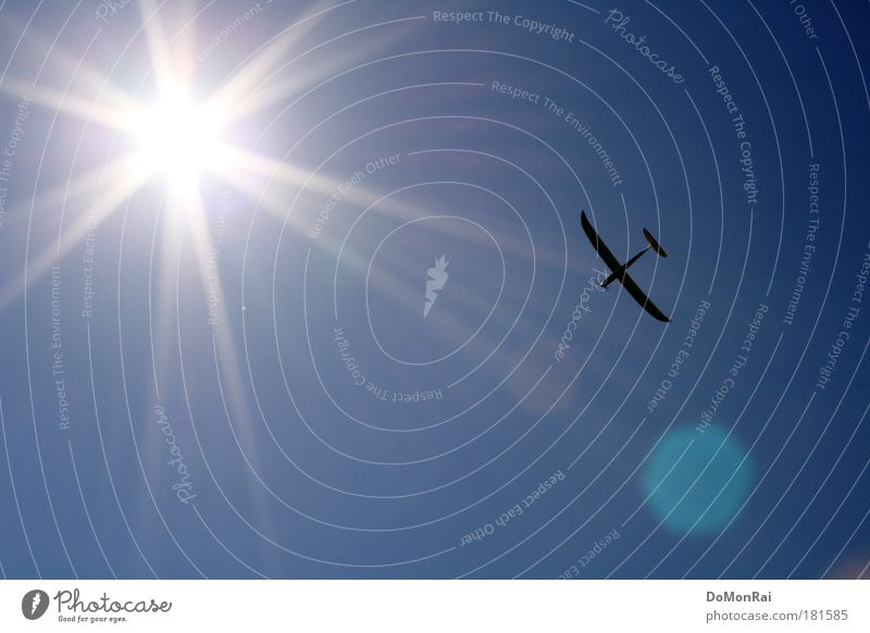 Sky Sun Blue Movement Freedom Bright Airplane Flying Speed Aviation Adventure Logistics Tourism Leisure and hobbies Longing