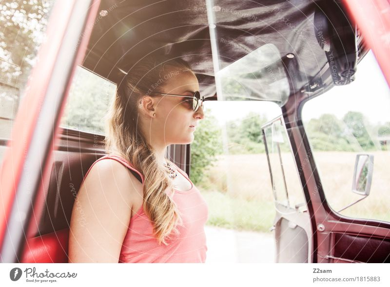 Nature Youth (Young adults) Summer Beautiful Young woman Landscape Red 18 - 30 years Adults Style Fashion Dream Car Elegant Blonde Idyll