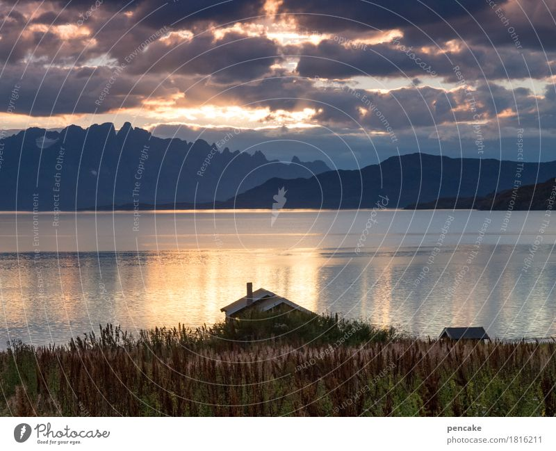 the sun goes to sleep now Landscape Water Sky Clouds Autumn Plant Coast Bay Fjord House (Residential Structure) Hut Emotions Joie de vivre (Vitality) Mountain