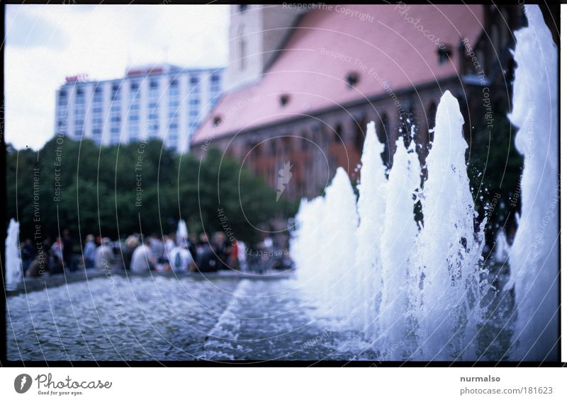 Berlin Mitte, it was summer Colour photo Day Downtown Berlin Fountain Pure Inject Refreshment Water fountain Bubbling