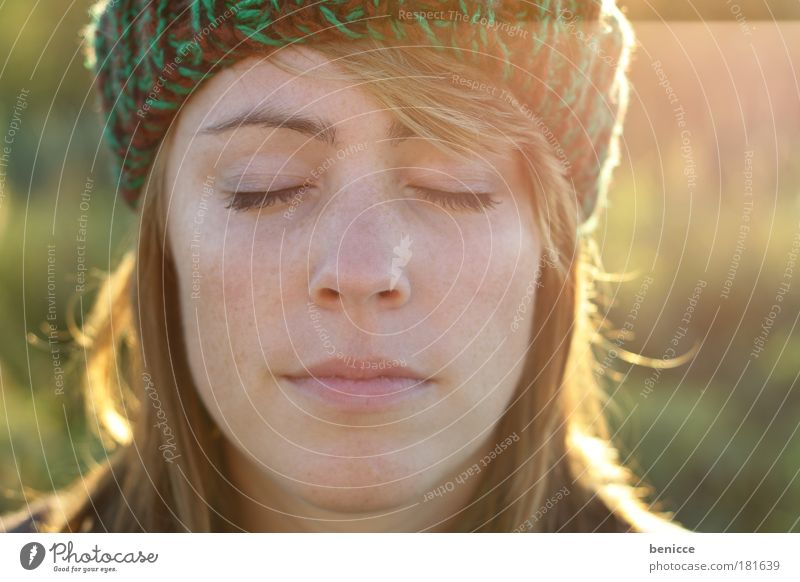 Woman Human being Nature Youth (Young adults) Sun Winter Portrait photograph Relaxation Autumn Face Think Sleep Closed Close-up Cap Meditative
