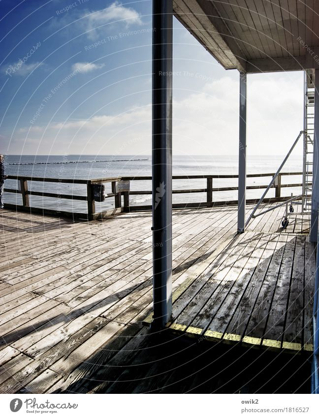 wooden gallery Woman Adults 1 Human being 45 - 60 years Environment Nature Water Sky Clouds Horizon Climate Beautiful weather Baltic Sea Sea bridge Sellin