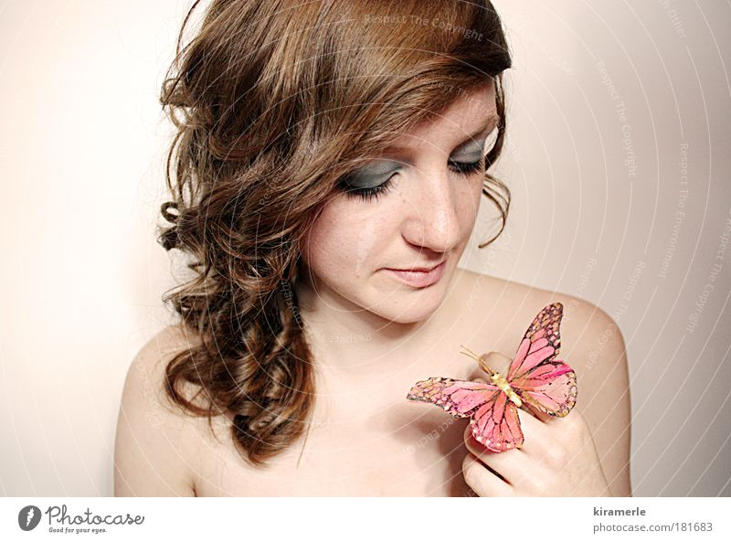 dreams of you and me Colour photo Central perspective Looking away Feminine Young woman Youth (Young adults) 1 Human being Brunette Red-haired Curl Butterfly