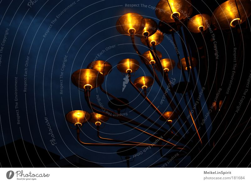 Sky Blue Red Black Yellow Dark Sadness Lamp Art Brown Wind Glittering Stars Modern Abstract Illuminate