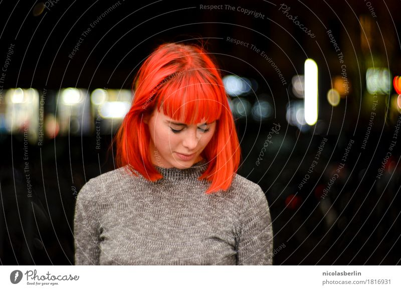 Portrait of a beautiful redheaded woman looking down bashfully Lifestyle Style Exotic pretty Hair and hairstyles Well-being Senses Calm Flirt Feminine