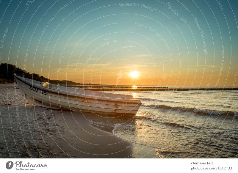 Sun Ocean Relaxation Calm Beach Moody Sand Watercraft Bright Island To enjoy Baltic Sea Harmonious Cloudless sky Fishing (Angle) Fishery