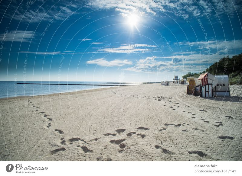 Good morning Usedom Island Baltic Sea Ocean Beach chair Calm Relaxation To enjoy Clouds Blue sky Footprint Tracks Tracking Sand Sandy beach Sun Bright