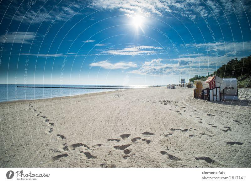Good morning Usedom Island Baltic Sea Ocean Beach chair Calm Relaxation To enjoy Clouds Blue sky Footprint Tracks Tracking Sand Sandy beach Sun Bright