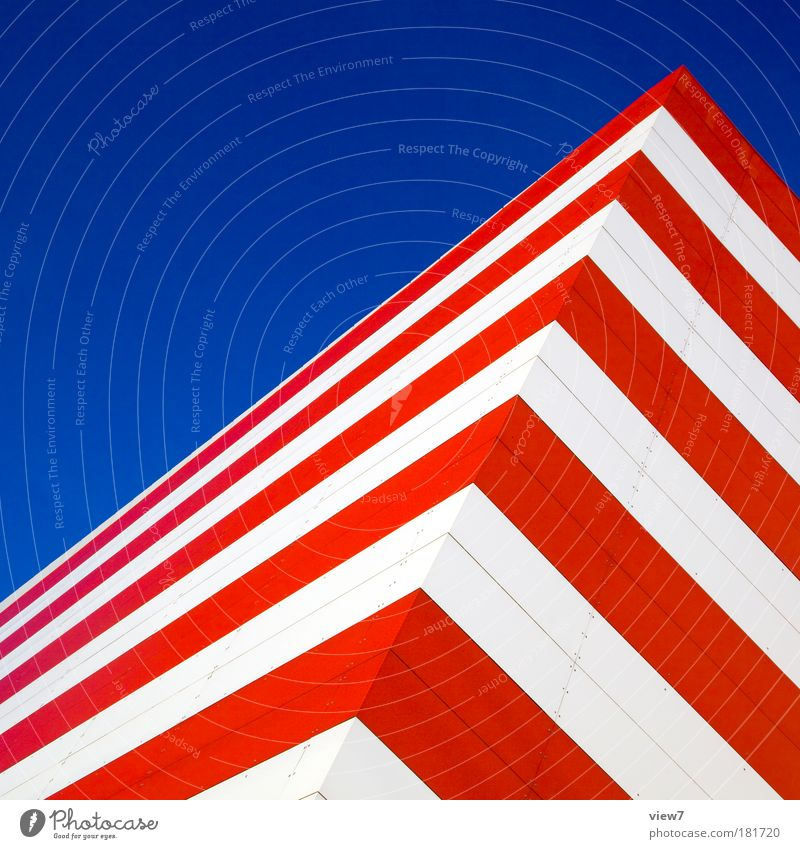 Blue Red Wall (building) Wall (barrier) Earth Metal Line Elegant Facade Arrangement Design Modern Success Esthetic Perspective Stripe