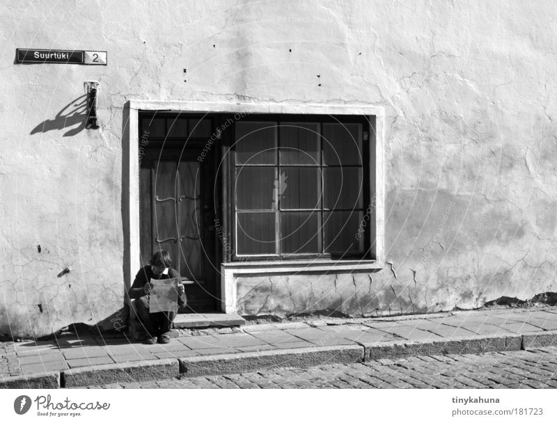 Tallinn Black & white photo Exterior shot Day Contrast Central perspective Vacation & Travel Far-off places Sightseeing City trip Human being Masculine Life 1