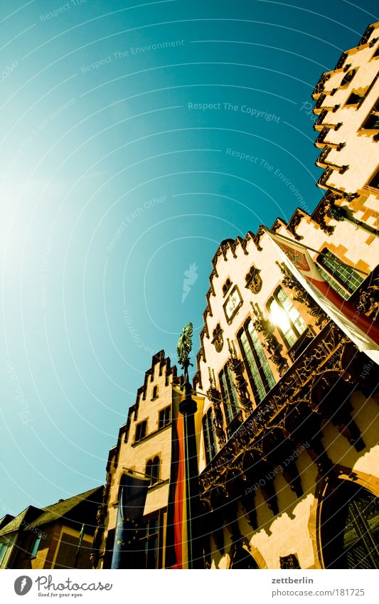 Sky City Summer Architecture Facade Perspective Skyline Frankfurt Main Landmark Beautiful weather Gothic period Steep Copy Space