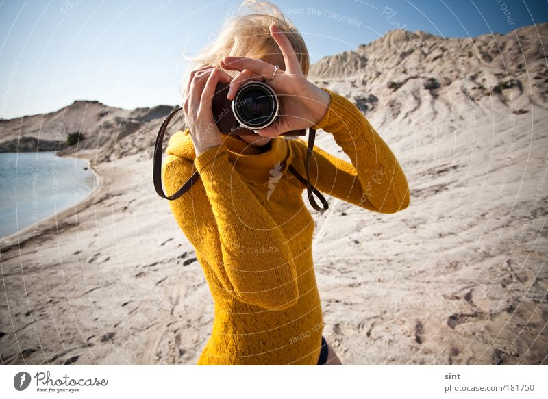 Human being Youth (Young adults) Vacation & Travel Summer Joy Adults Feminine Freedom Sand Woman Leisure and hobbies Blonde Photography Adventure Hope