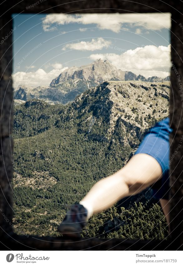 Sky Vacation & Travel Clouds Mountain Feet Legs Hiking Rock Vantage point Hill Peak Fat Majorca Leggings Mountain hiking Vacation photo