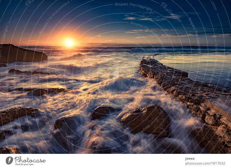 Praia das Azenhas do Mar Vacation & Travel Far-off places Summer Sun Waves Nature Landscape Water Sky Horizon Sunrise Sunset Sunlight Beautiful weather Fresh