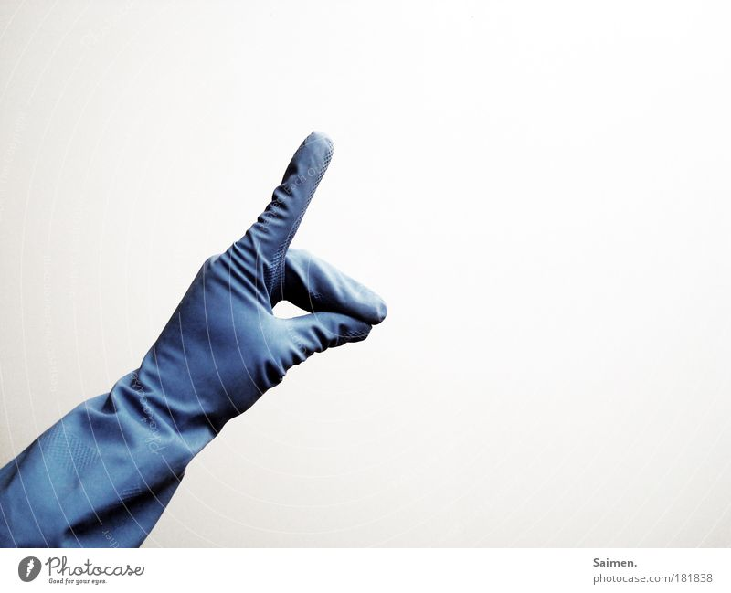Blue Hand Arm Fingers Clean Cleaning Sign Indicate Gesture Gloves Wolf Rock'n'Roll