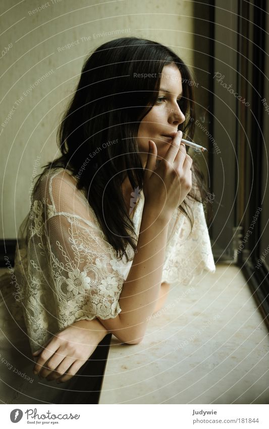 Youth (Young adults) Beautiful Loneliness Calm Adults Window Feminine Cold Sadness Style Think Fashion Flat (apartment) Elegant Gloomy Young woman