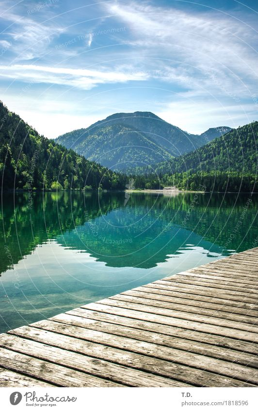 Sky Nature Blue Green Water Landscape Relaxation Calm Mountain Wood Time Lake Contentment Hiking Trip Idyll