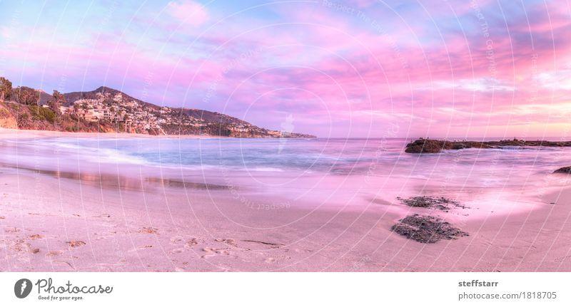 Sunset view of Treasure Island Beach Nature Blue Summer Ocean Landscape Red Clouds Coast Pink Success Violet Serene Peaceful California