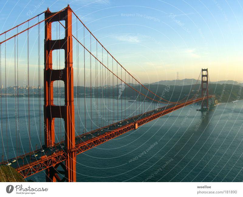 The Majesty of Bridges Landscape Water Sky Sunlight Beautiful weather Hill Coast Bay Ocean Pacific Ocean San Francisco San Francisco bay USA Americas Outskirts