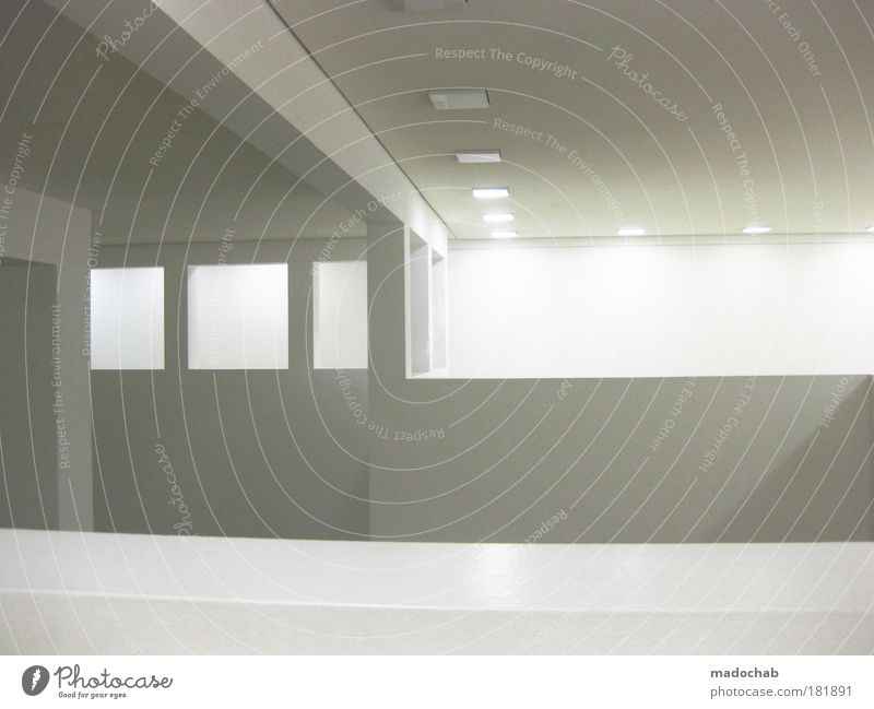 white room Interior shot Abstract Pattern Structures and shapes Deserted Copy Space right Copy Space middle Neutral Background Artificial light Contrast