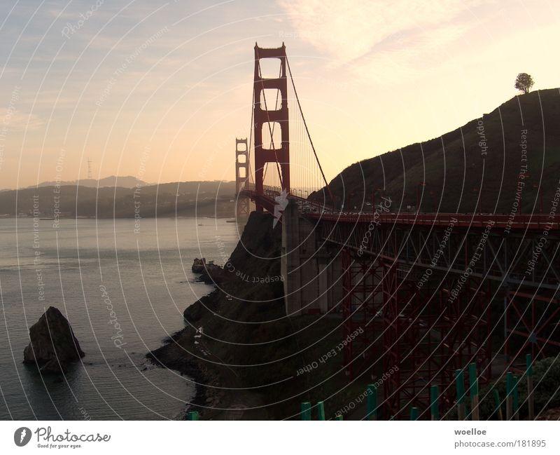 Goal to the Golden Gate Colour photo Exterior shot Deserted Copy Space left Copy Space right Evening Twilight Light (Natural Phenomenon) Sunlight Sunrise Sunset