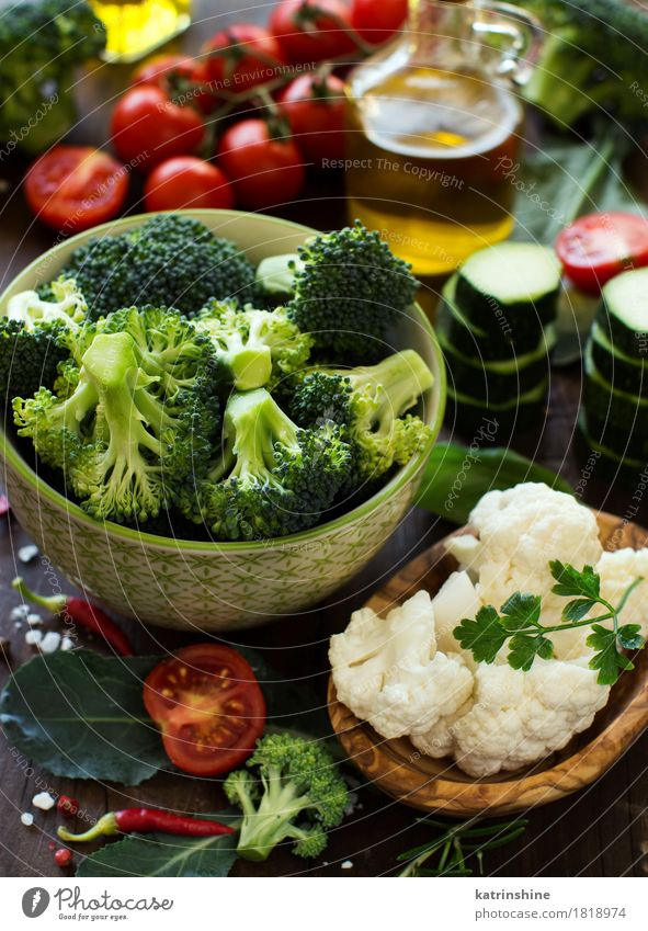 Fresh vegetables, herbs and olive oil Vegetable Herbs and spices Cooking oil Eating Vegetarian diet Diet Bowl Summer Table Autumn Leaf Collection Dark Natural