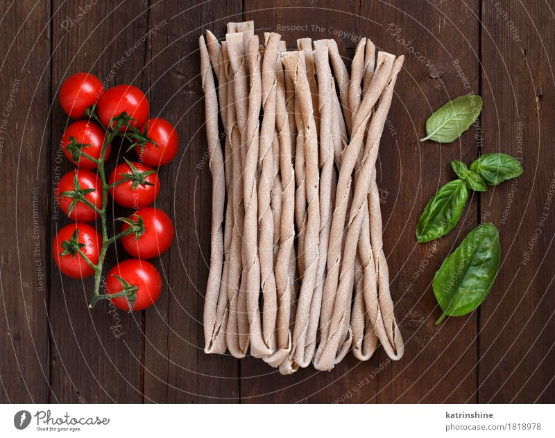 Raw italian pasta, basil and vegetables Green Red Leaf Dark Brown Nutrition Fresh Table Herbs and spices Vegetable Tradition Baked goods Meal Vegetarian diet