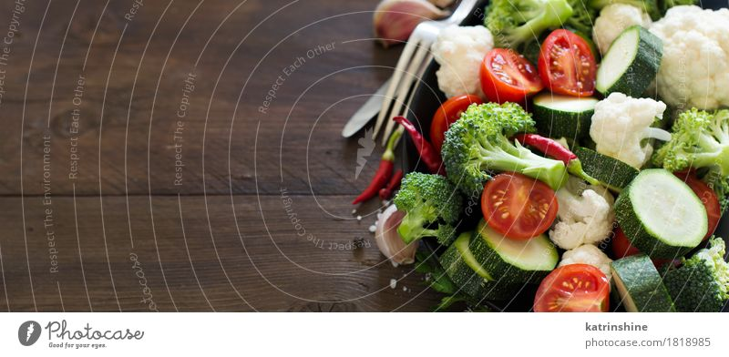 Fresh green broccoli and vegetables Vegetable Herbs and spices Eating Vegetarian diet Diet Knives Fork Summer Table Autumn Leaf Dark Healthy Natural Green Red