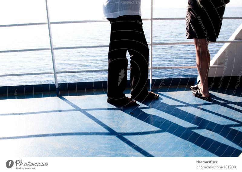 Human being Woman Man Blue Vacation & Travel Summer Adults To talk Legs Feet Masculine Beginning Stand Watercraft Observe Communicate