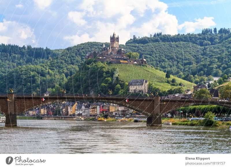 Cochem on the Moselle Mosel (wine-growing area) Wine growing Germany Rhineland-Palatinate Village Small Town Old town Populated Palace Castle Tower