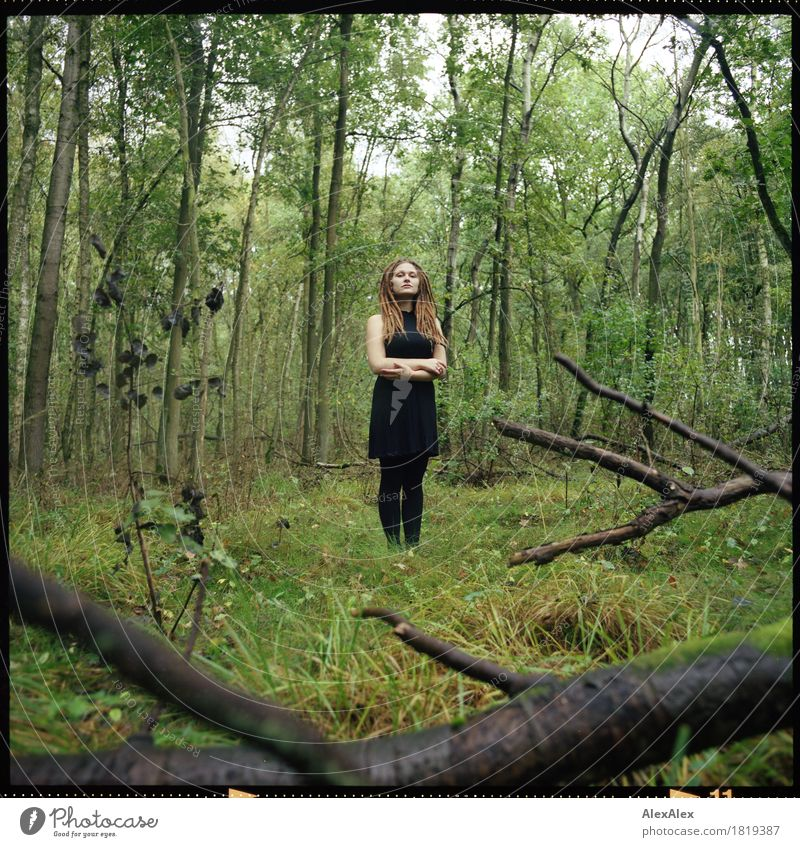 wild in the woods Harmonious Relaxation Trip Young woman Youth (Young adults) Body 18 - 30 years Adults Nature Landscape Plant Beautiful weather Branch Bushes