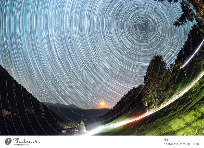 Star orbits above the Niesen Harmonious Contentment Calm Far-off places Mountain Nature Landscape Elements Night sky Stars Autumn Beautiful weather Mount Niesen