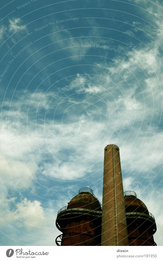 Sky Blue Clouds Architecture Brown Exceptional Dirty Large Tall Industry Technology Manmade structures Hut Tourist Attraction Chimney Production