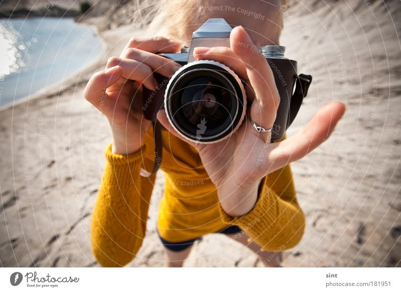 Human being Youth (Young adults) Summer Joy Adults Feminine Leisure and hobbies Photography Uniqueness Retro Profession To hold on Curiosity Camera Near