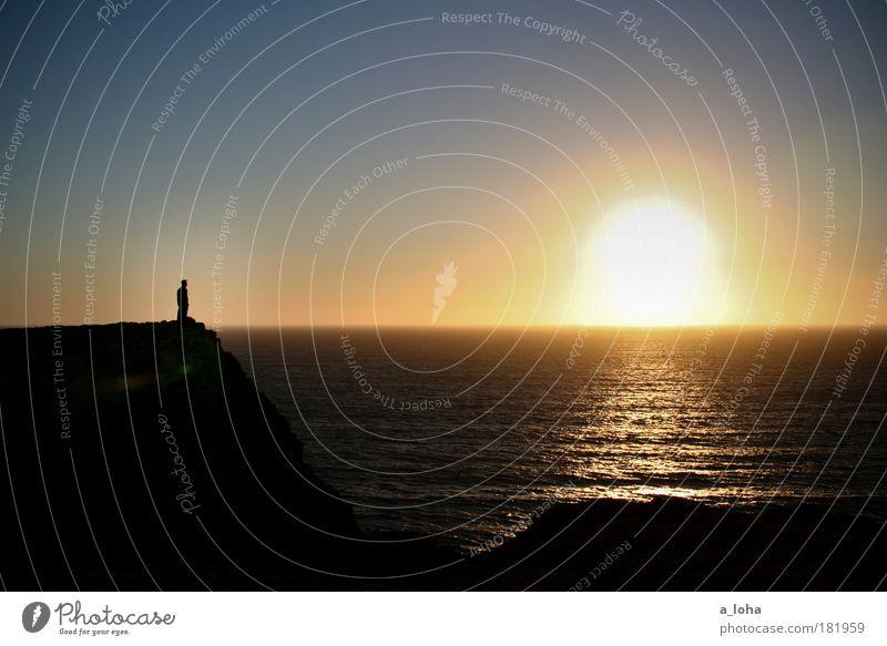 wanderlust 1 Human being Landscape Elements Water Cloudless sky Horizon Sunrise Sunset Weather Coast Ocean Observe Stand Dream Wait Authentic Gigantic Infinity