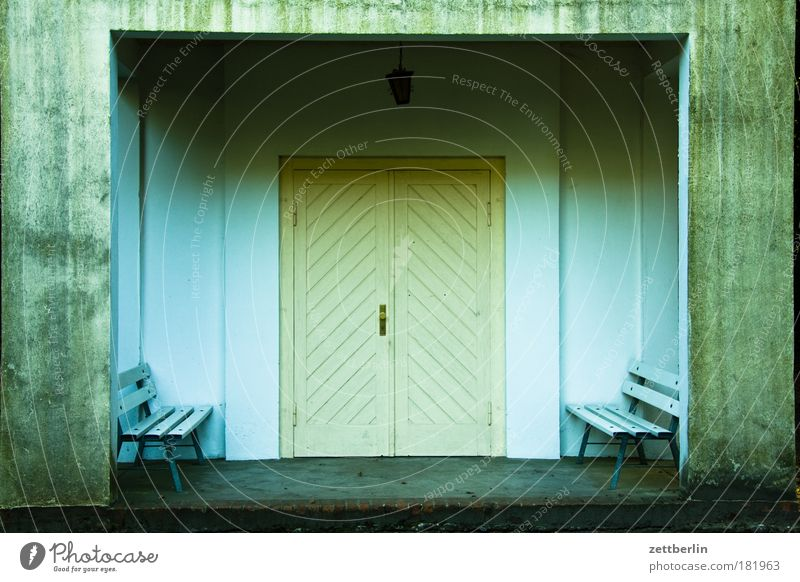Dark Sadness Wait Door Closed Grief Bench Gate Entrance Warehouse Hall Symmetry Cemetery November Seating Chapel