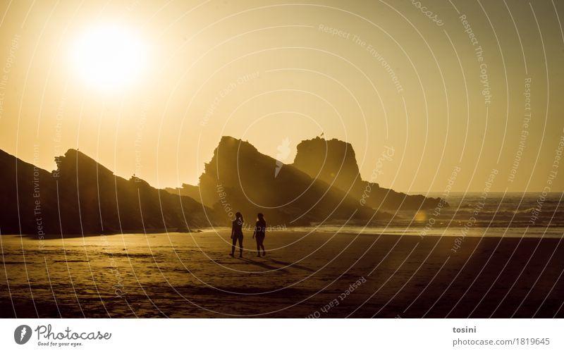 Nature Vacation & Travel Beautiful Water Sun Ocean Relaxation Beach Lighting Couple Sand Rock Horizon Waves Gold Longing
