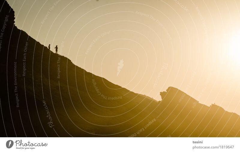 Human being Nature Vacation & Travel Beautiful Sun Relaxation Lighting Rock Gold Tilt Longing Dusk Evening sun Massive