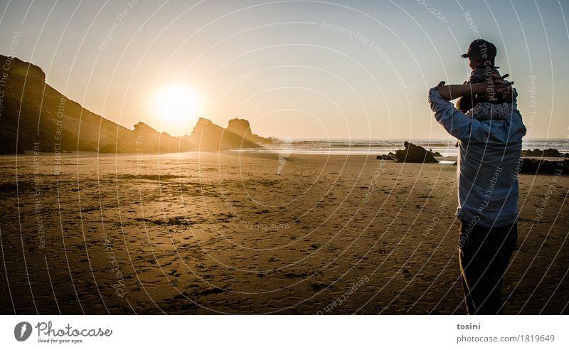 Nature Vacation & Travel Water Sun Ocean Relaxation Beach Lighting Sand Rock Horizon Gold Safety Longing Tracks Dusk