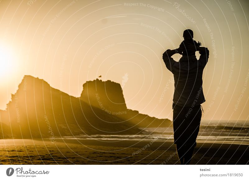 Nature Vacation & Travel Water Sun Ocean Relaxation Beach Lighting Sand Rock Horizon Gold Safety Longing Dusk Father