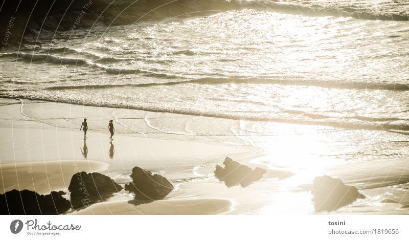 by the sea II Ocean Water Reflection Sun Light Evening Evening sun Human being Sand Beach Rock Waves Dusk Vacation & Travel Together Nature Relaxation Longing