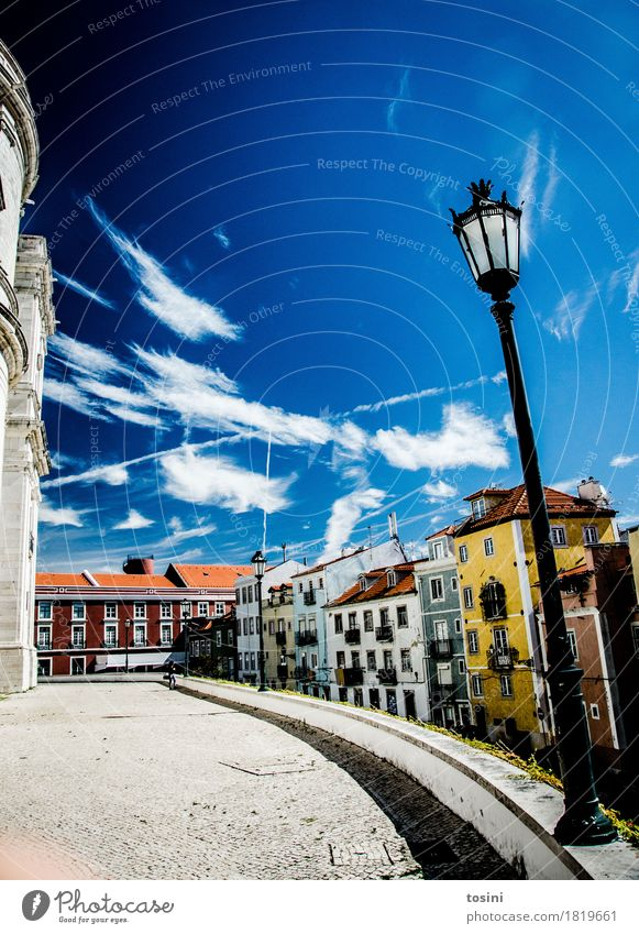 Lisbon V Sky Clouds Multicoloured Blue Street lighting Town Facade House (Residential Structure) Places Paving stone Cobblestones Vacation & Travel Roof Yellow