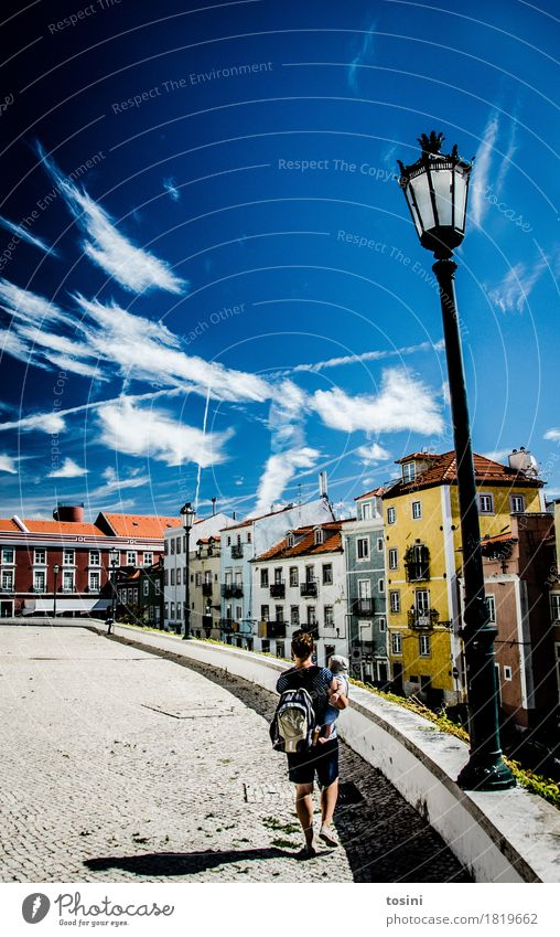 Lisbon IV Sky Clouds Multicoloured Blue Street lighting Woman Mother Child Son Town Facade House (Residential Structure) Places Paving stone Cobblestones