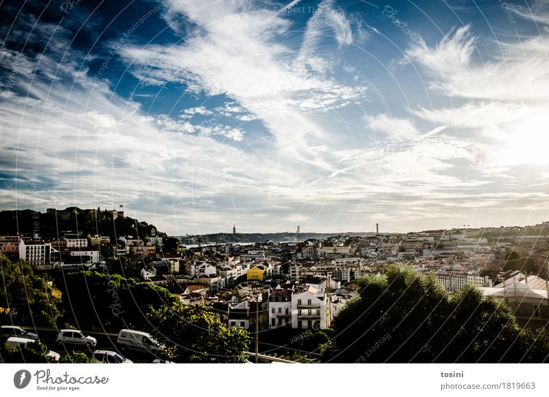 Lisbon III Sky Clouds Blue Town Hill Vantage point Castle Light Bright House (Residential Structure) City life Architecture Roof